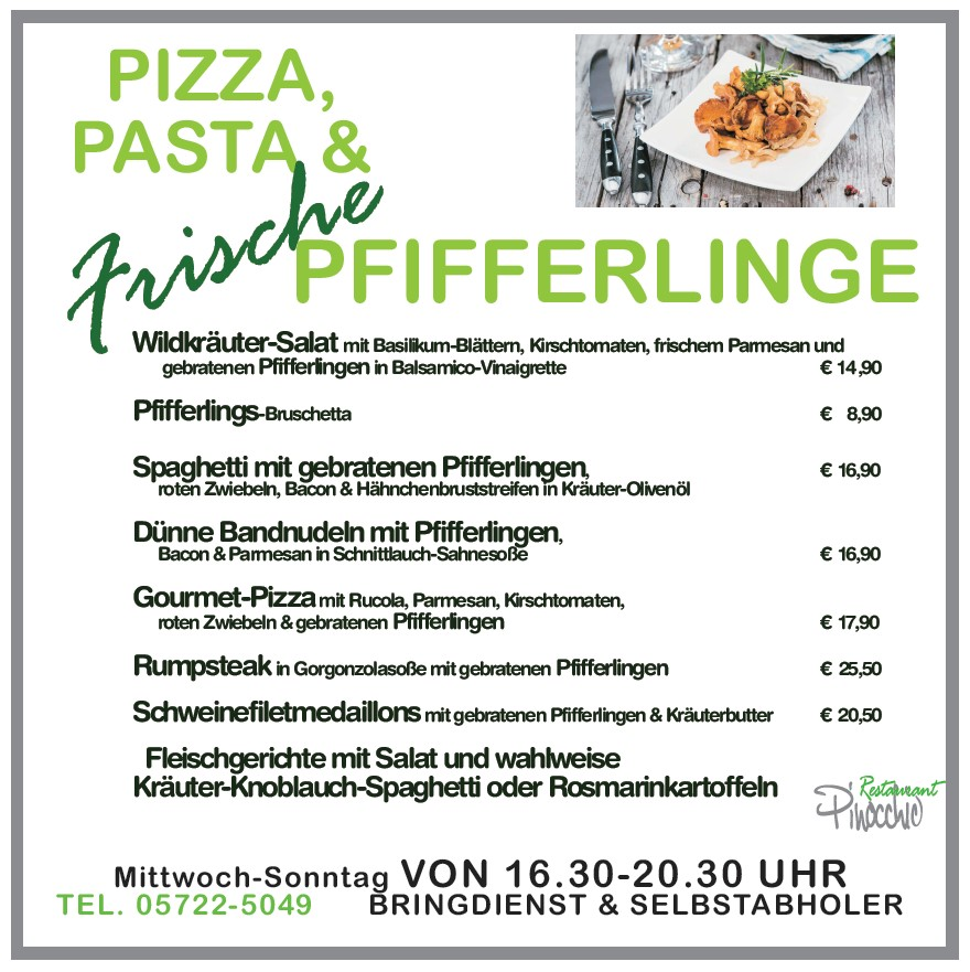 PFIFFERLING & PASTA/PIZZA